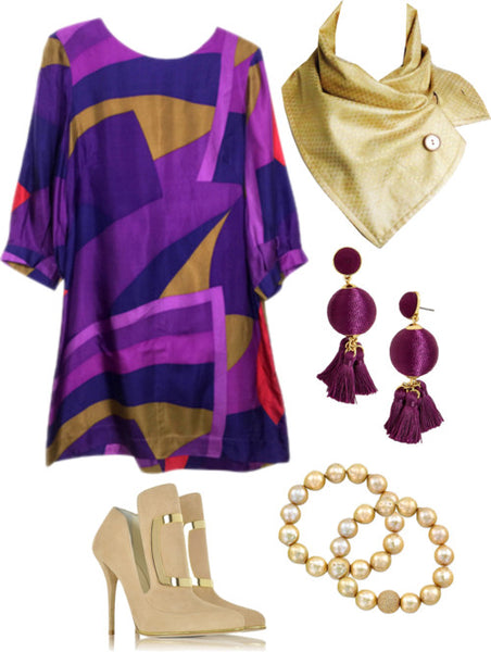 the maya button scarf with a graphic shift dress in purple and gold, gold heels, and purple and gold jewelry