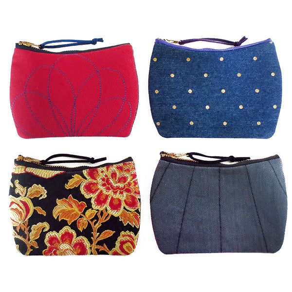 mini zip pouches from Holland Cox in red, polka dot denim, gray denim, and gold and black damask