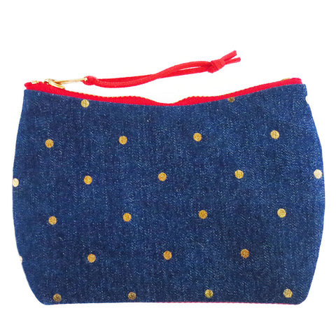 mini pouch from Holland Cox in gold polka dot denim