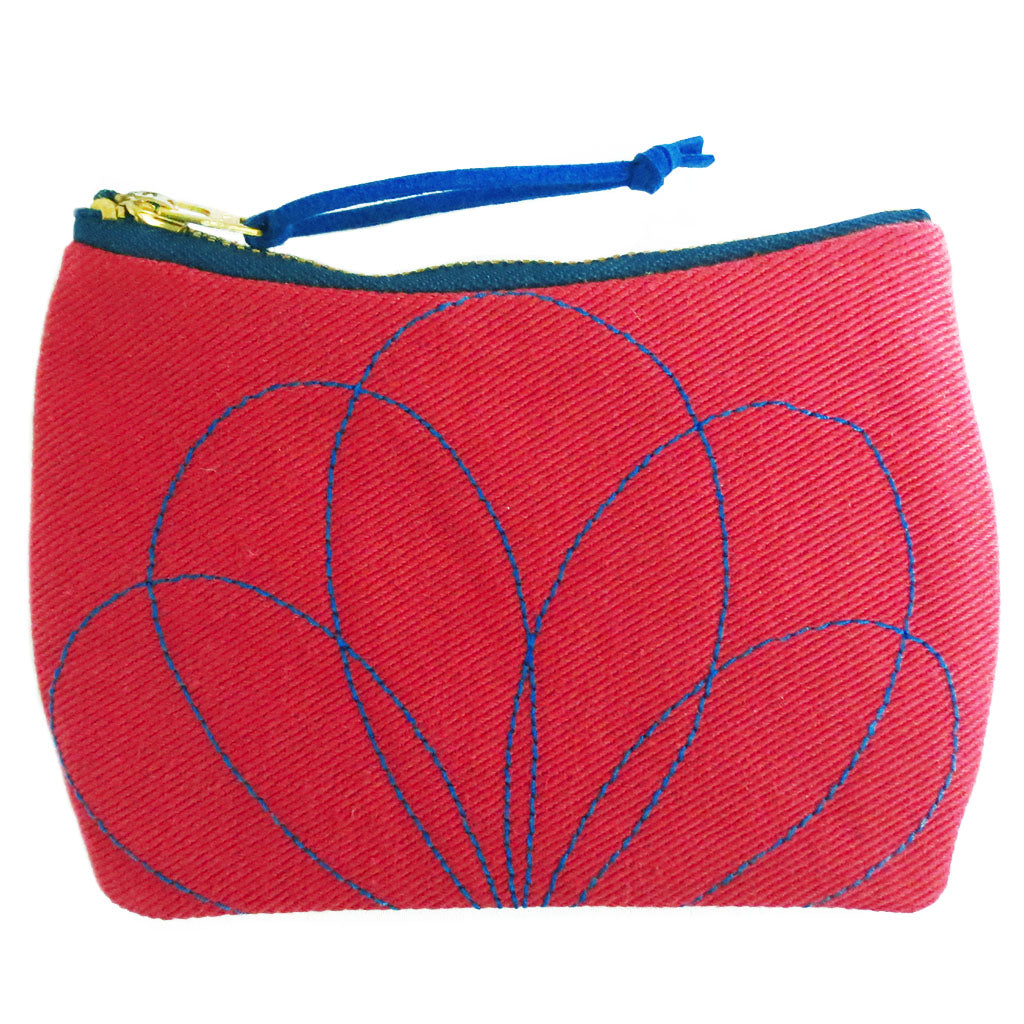 the persephone mini pouch in red denim with blue stitching