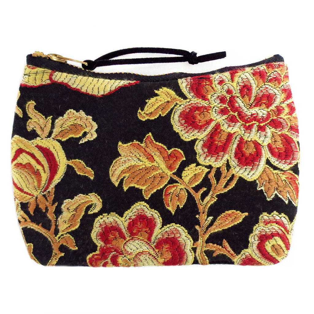 the phoenix mini pouch in red, gold, and black satin damask