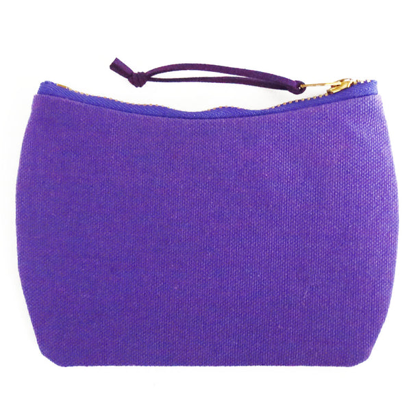 the back of the mini pouch in bright purple canvas