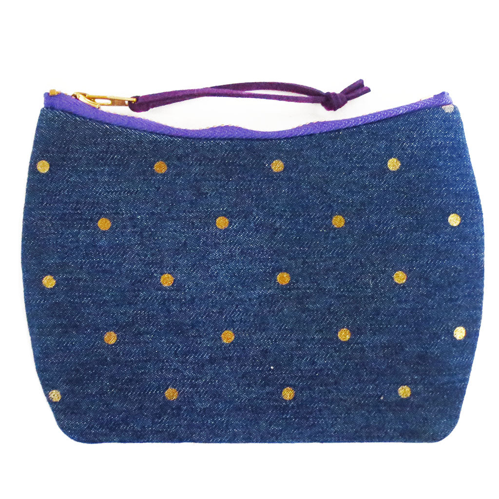 mini pouch from Holland Cox in gold polka dot denim and purple canvas