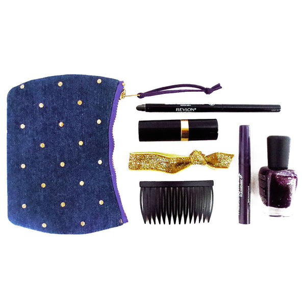 purple lola mini pouch shown with your everyday carry makeup