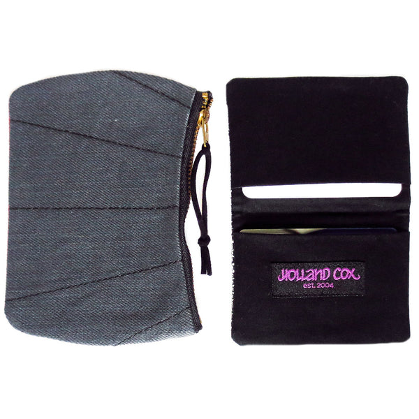 the simone mini pouch shown with an open 19th st wallet, which itself can fit several business cards and credit cards
