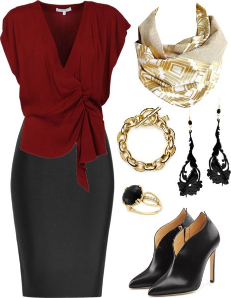 the naomi button scarf with a wine colored blouse and black pencil skirt, black heels, and gold and black jewelry