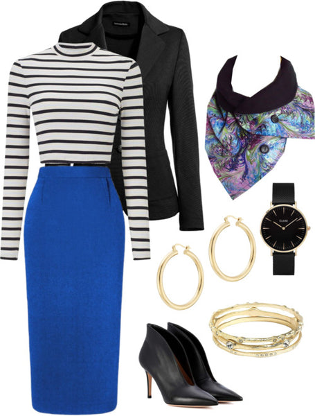 the natalie scarf with a royal blue skirt, black and white striped top, and a black blazer
