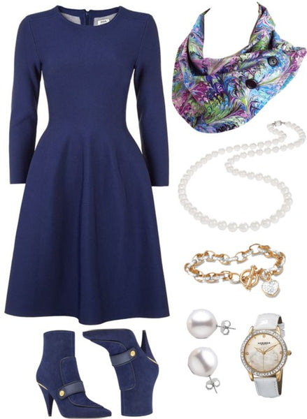 the natalie scarf with a navy dress, pearl jewelry, and navy suede boots