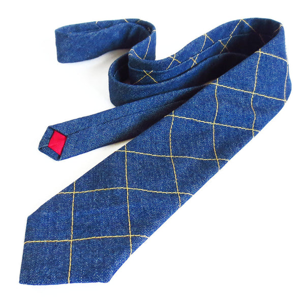 handmade denim necktie with gold windowpane check from Holland Cox