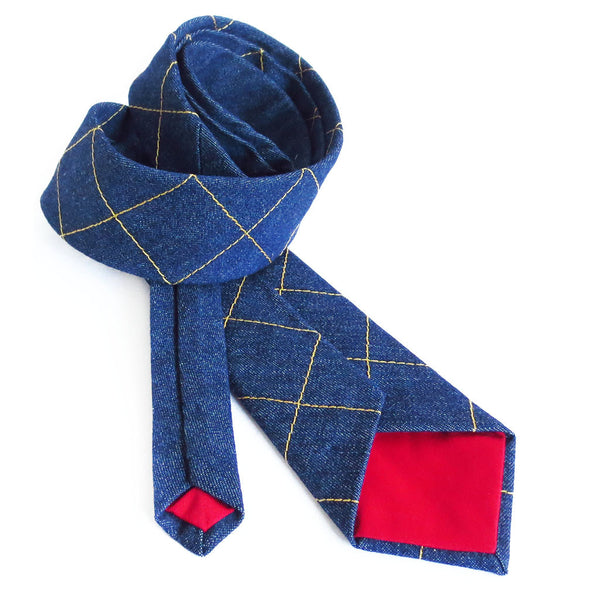 handmade denim necktie with red tips