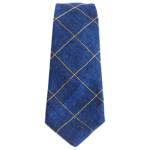 denim necktie with windowpane check design, stitched in gold heavy duty thread