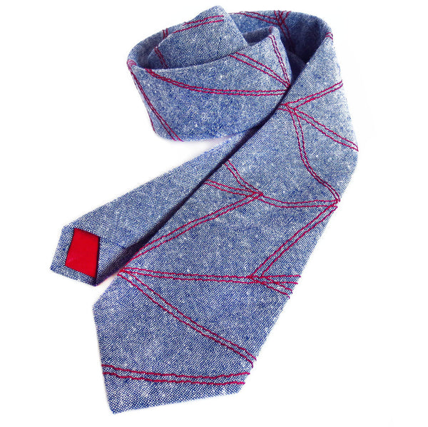 blue essex linen necktie with red chevron wave stitching