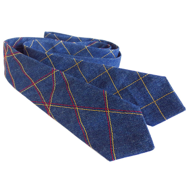 denim neckties with stitched designs, handmade from Holland Cox