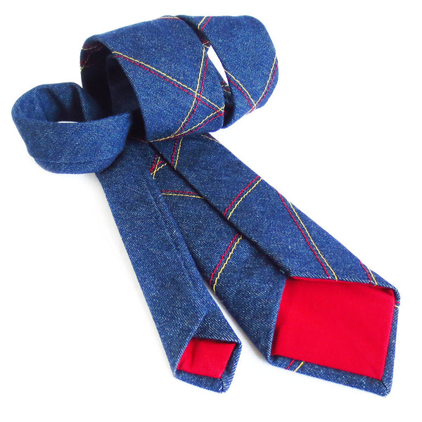 denim necktie with red cotton tips