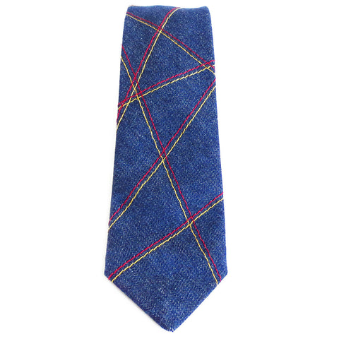 denim necktie with crossing double lines stitched in red and gold heavy duty thread