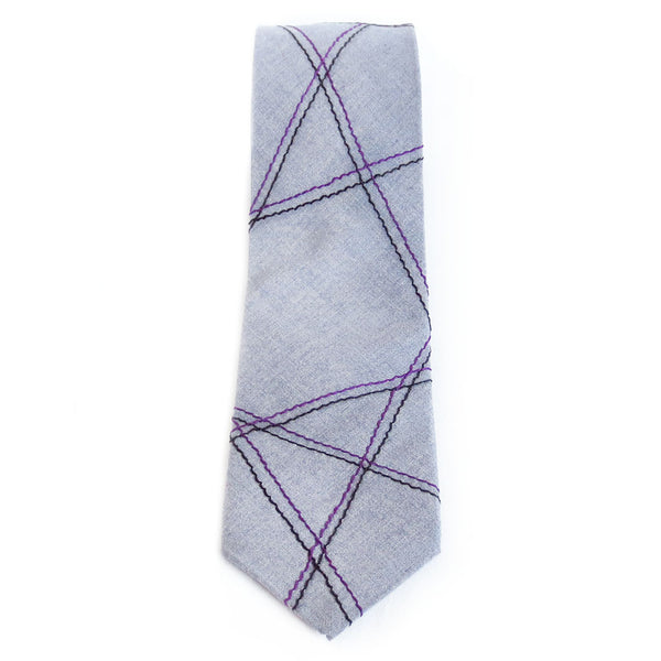 Gray necktie with abstract linear pattern in purple and black.