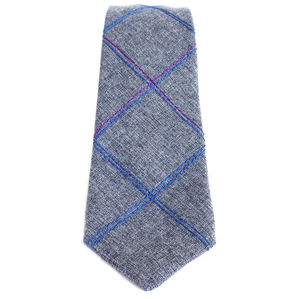blue and purple windowpane check stitched into wool blend necktie