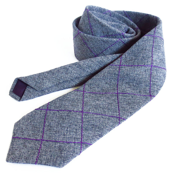 wool blend necktie stitched with purple windowpane check