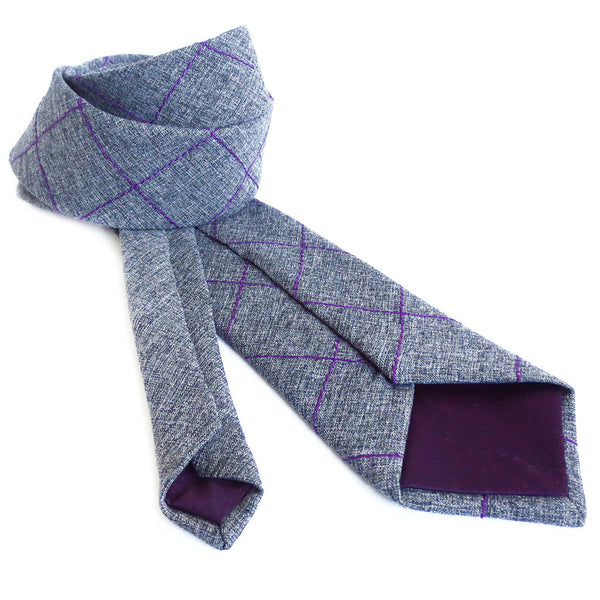 handmade gray necktie lined in dark purple