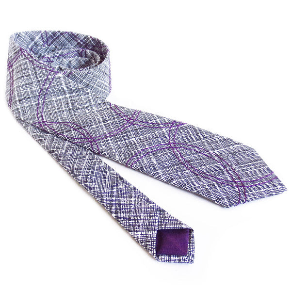 venn in purple necktie