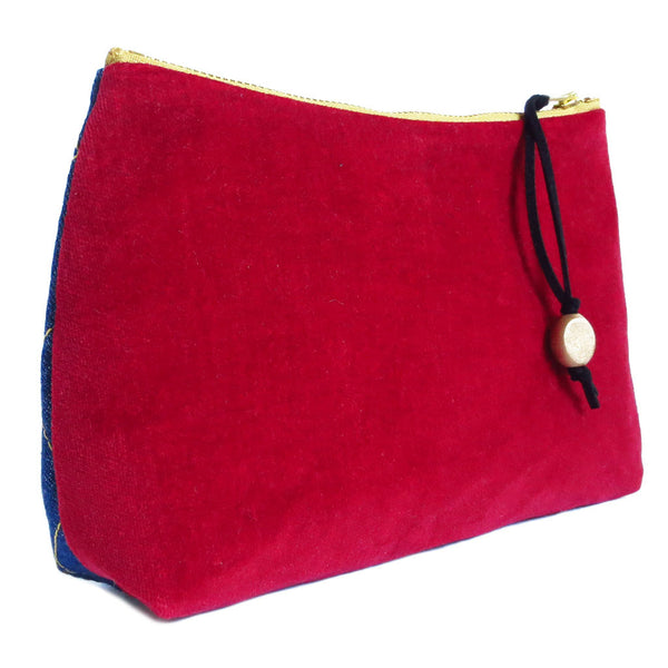 back of perfect pouch in red cotton velveteen