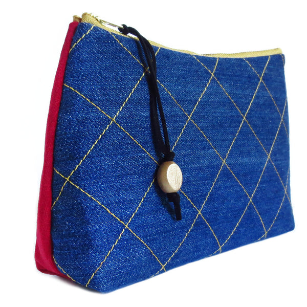 denim zip pouch with gold stitched windowpane check