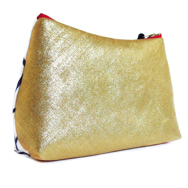 the back of the cassandra perfect pouch, in metallic gold leather