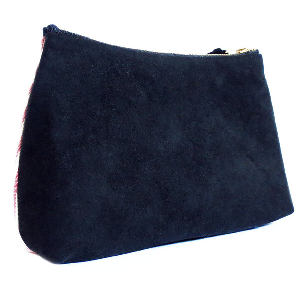 back of the DC pride zip pouch is black ultrasuede