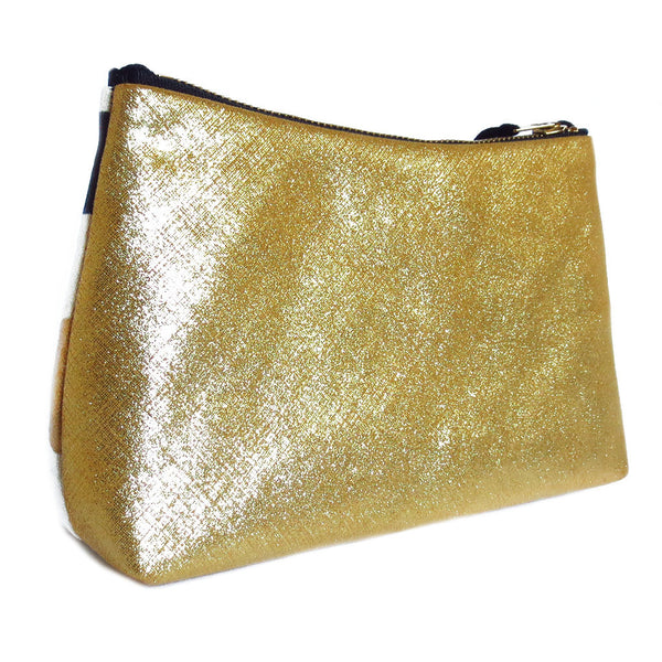 gold metallic leather back of the felicity zip pouch