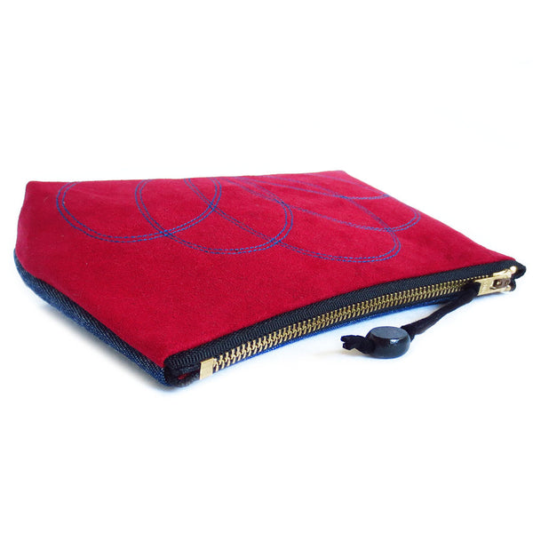"red ultrasude zip pouch closes with a 7"" brass zipper"