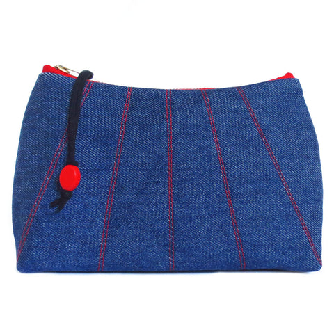 denim zip pouch with red stitching detail from Holland Cox