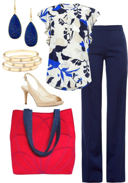work outfit featuring the persephone 517 tote, navy trousers, a printed blouse, nude heels and lapiz and gold jewelry
