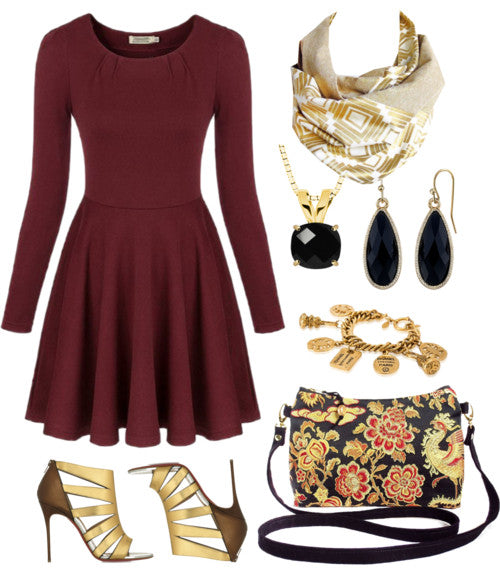 the naomi button scarf with a long sleeve red dress, black and gold jewelry, gold heels, and a Holland Cox crossbody bag in black and gold