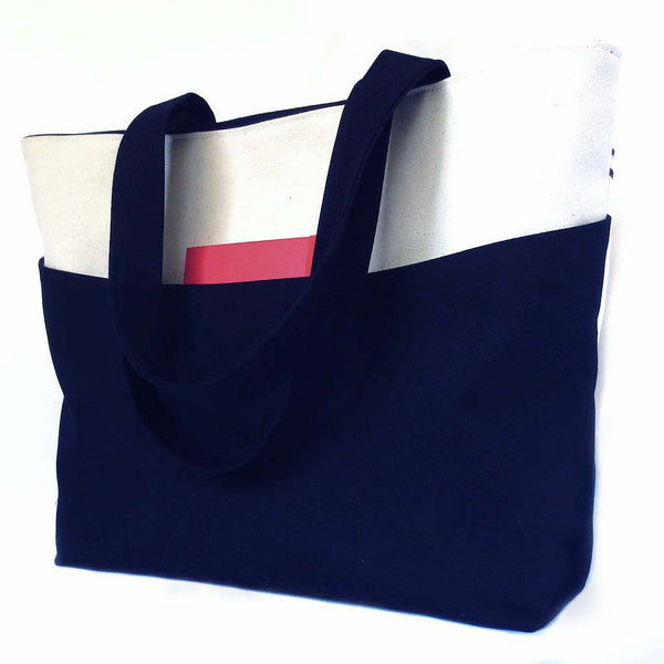 back view of the regina tote, in black denim and natural canvas