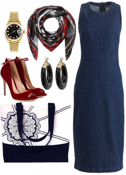 the regina tote styled with a denim dress, black and gold jewelry, and red heels