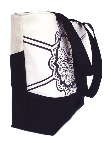"side view of the regina tote, showing the deep 6"" gusset"