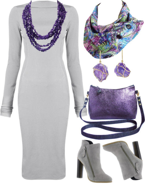 the reina crossbody bag with a gray sweater dress, amethyst jewelry, and the natalie button scarf