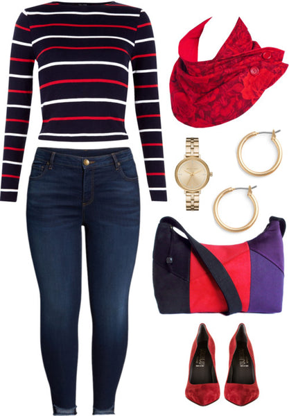 the trinity bag styled with skinny jeans, a striped sweater, and the rosetta button scarf