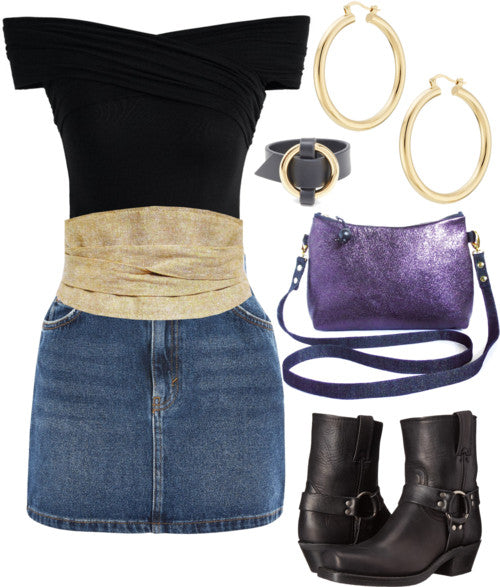 the selina belt styled with a denim mini skirt, off-the-shoulder black top, black boots, and a purple crossbody bag