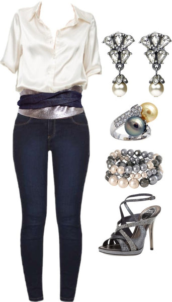 the sheba belt styled with skinny jeans, a silky top, and very fancy diamond and pearl jewelry