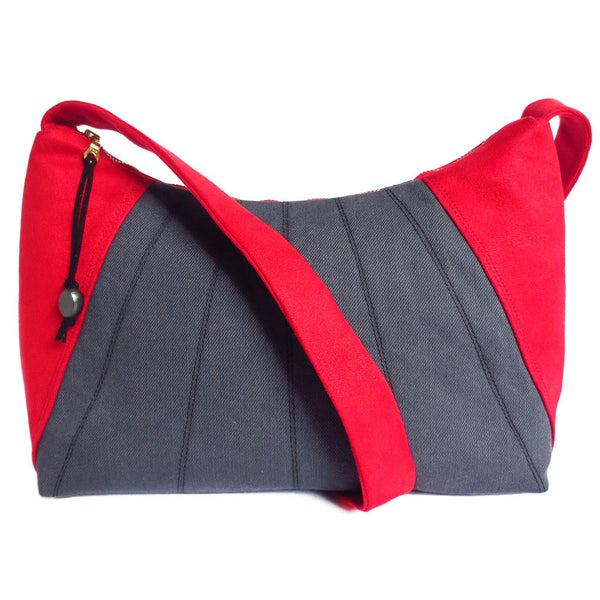 Red ultrasuede and gray denim everyday bag from Holland Cox