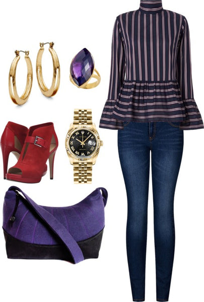 outfit idea for the simone everyday bag, featuring skinny jeans and red booties
