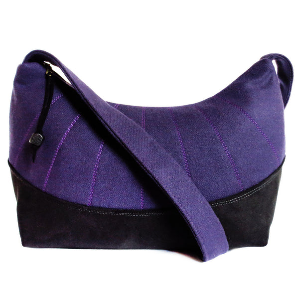 purple wool and black ultrasuede everday bag from Holland Cox
