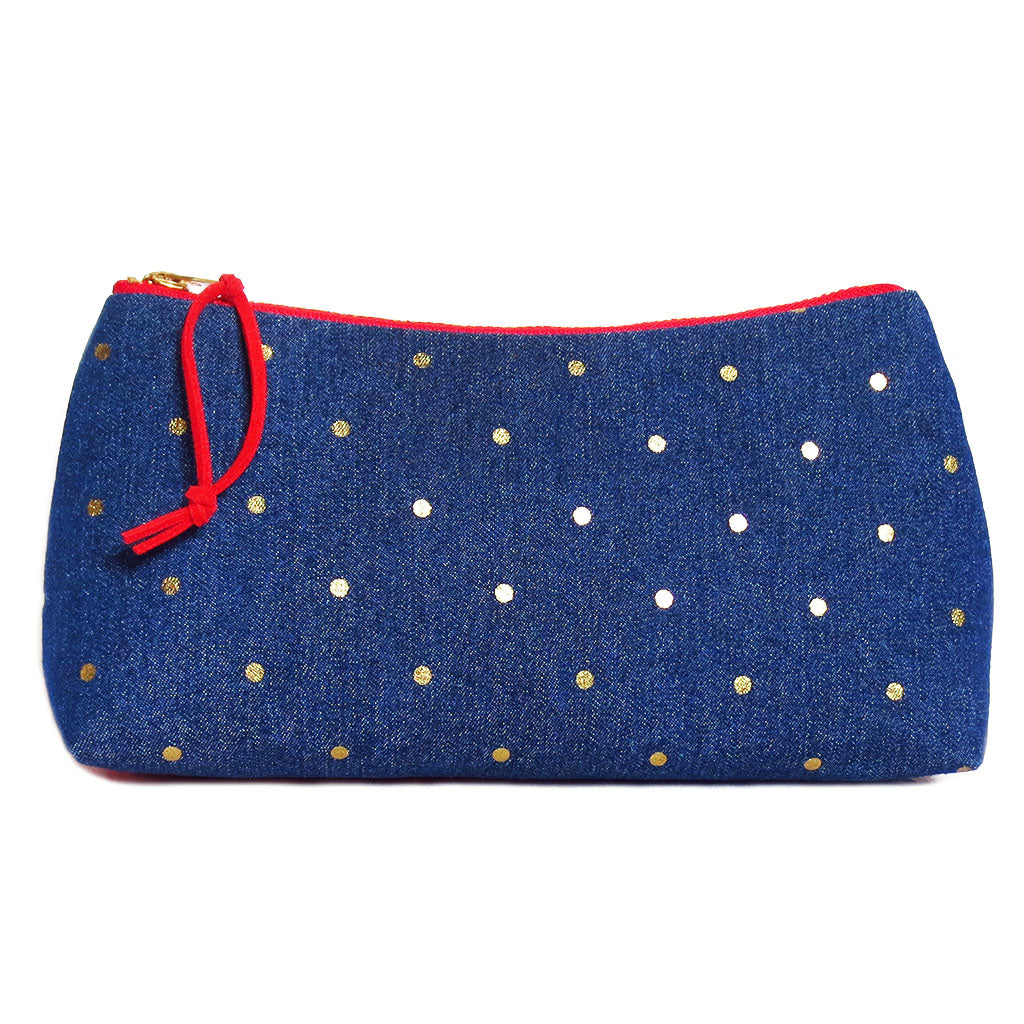 small zip pouch with gold dots on denim and red ultrasuede