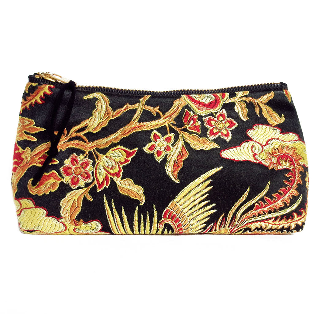 satin damask in black, gold, and red featuring abstract florals and phoenix motif