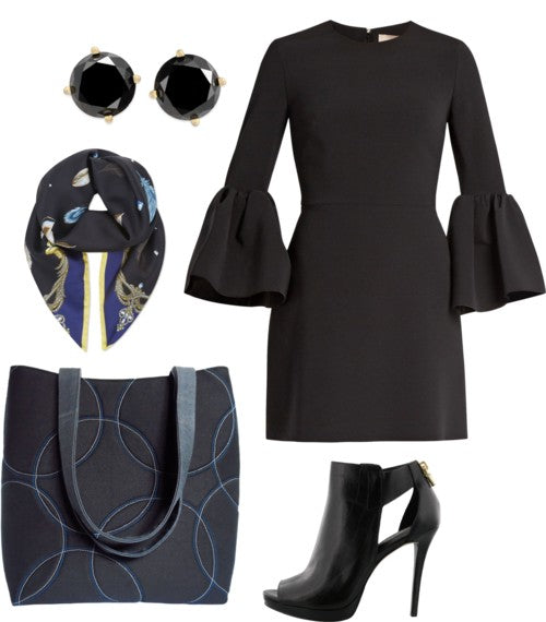 an outfit idea featuring the sofia 517 tote from Holland Cox, with a black dress with bell sleeves, black shoes and a black scarf