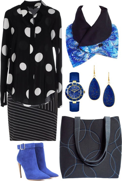 the fitzgerald scarf with a black and white outfit, including a polka dot top, striped skirt, and Holland Cox tote