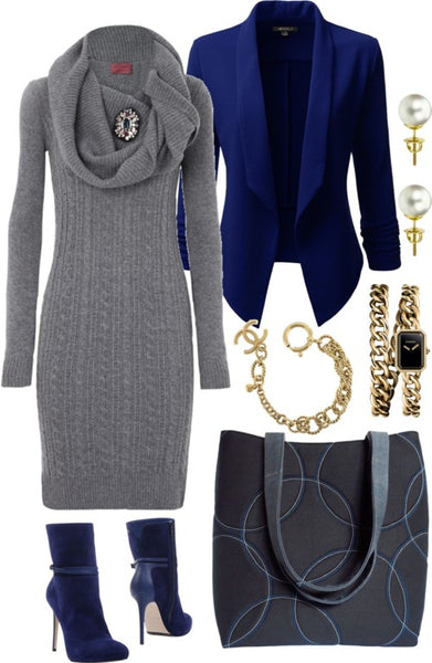 the sofia 517 tote with a gray sweater dress and royal blue blazer