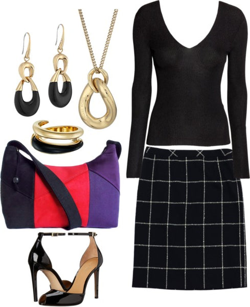 outfit idea for the trinity bag - a wool plaid skirt and black sweater, with black and gold jewelry and patent leather heels