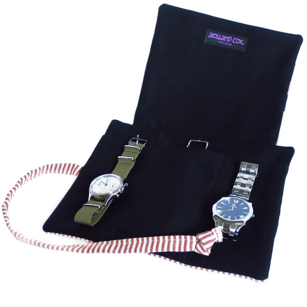 fabric watch roll with padded black lining